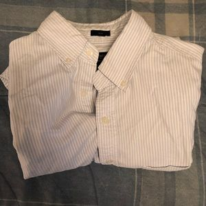 J. Crew Slim Fit Striped Oxford Blue/White Medium